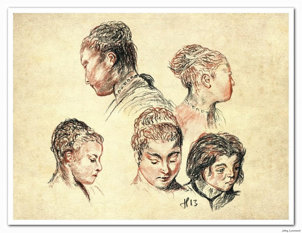 Etudes de têtes d'après Watteau