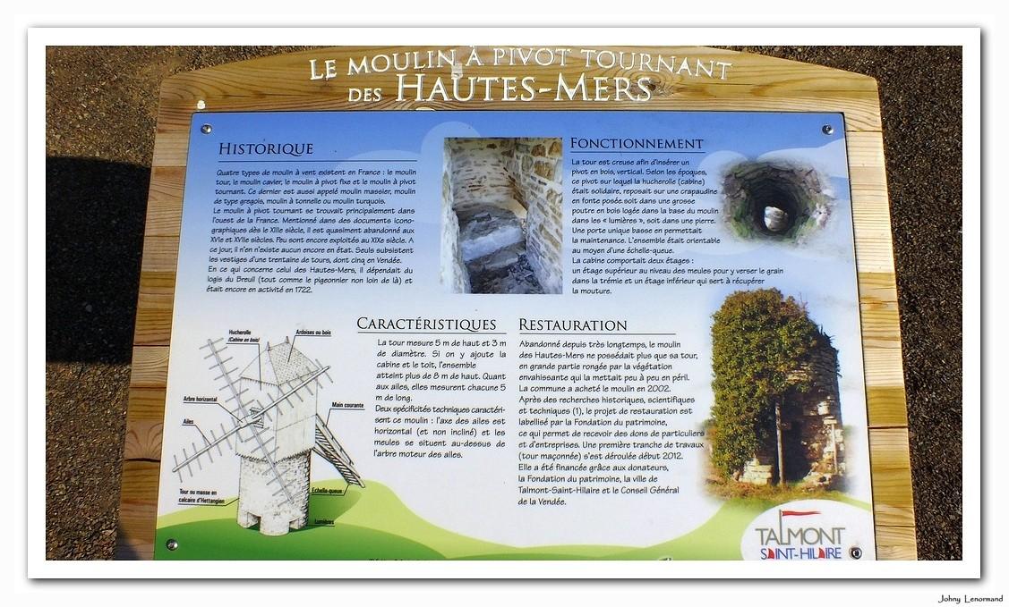 Plaquette d'informations sur le moulin à pivot des Hautes Mers à Talmont saint Hilaire
