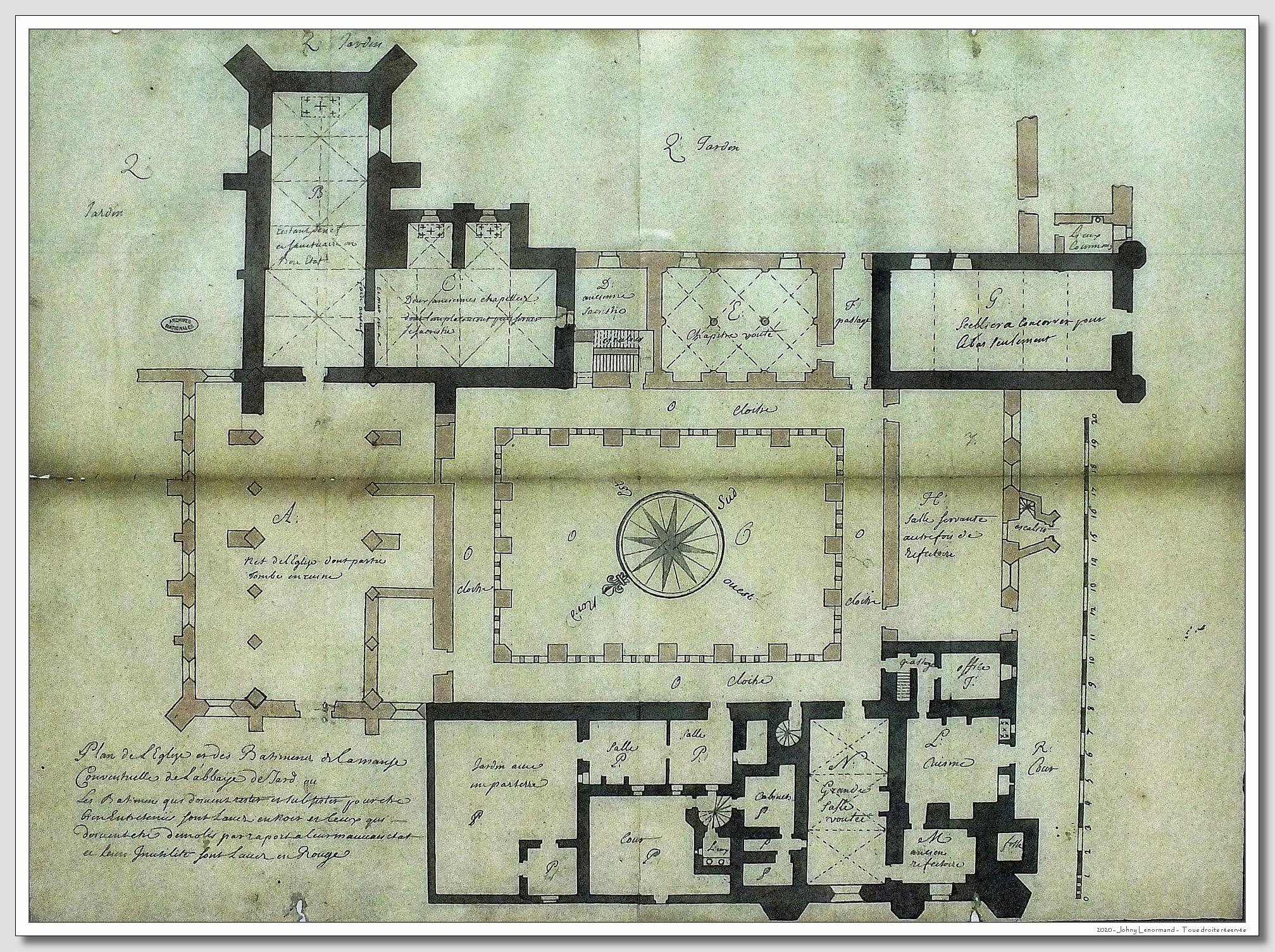 Plan de l'abbaye royale de Lieu Dieu à Jard sur Mer (Vendée)