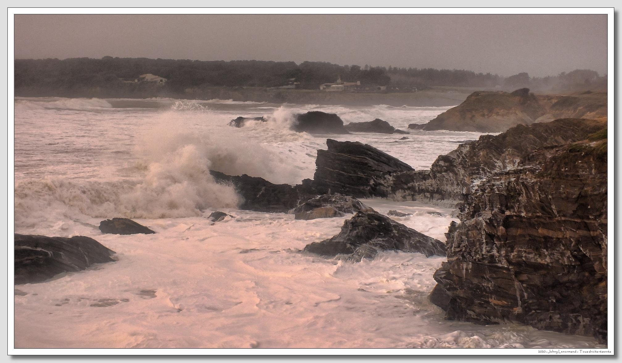 Tempête Ciara en baie de Cayola, Talmont Saint Hilaire, Vendée